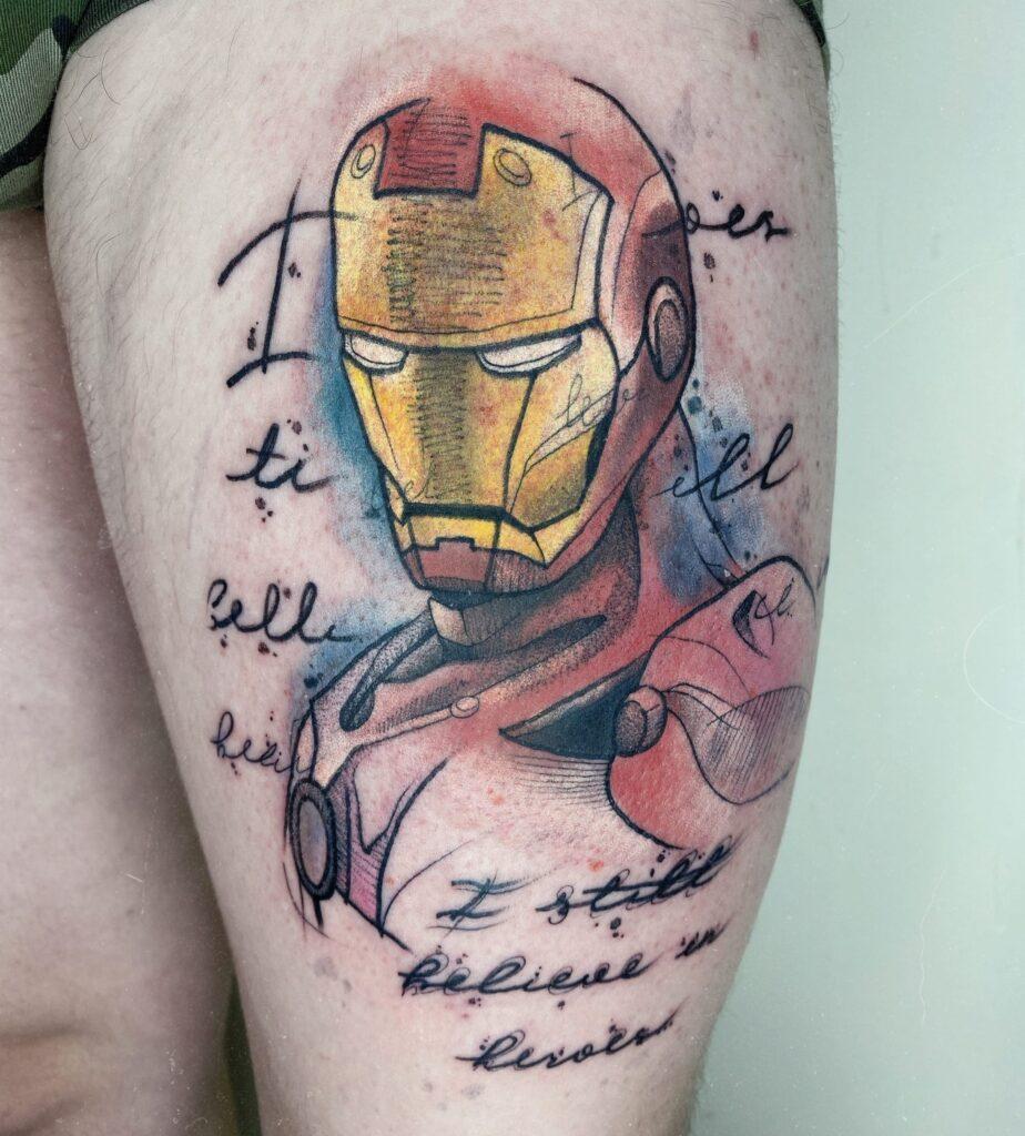Тату Iron Man мастер Алиса - ТатуКлубБай г. Минск.