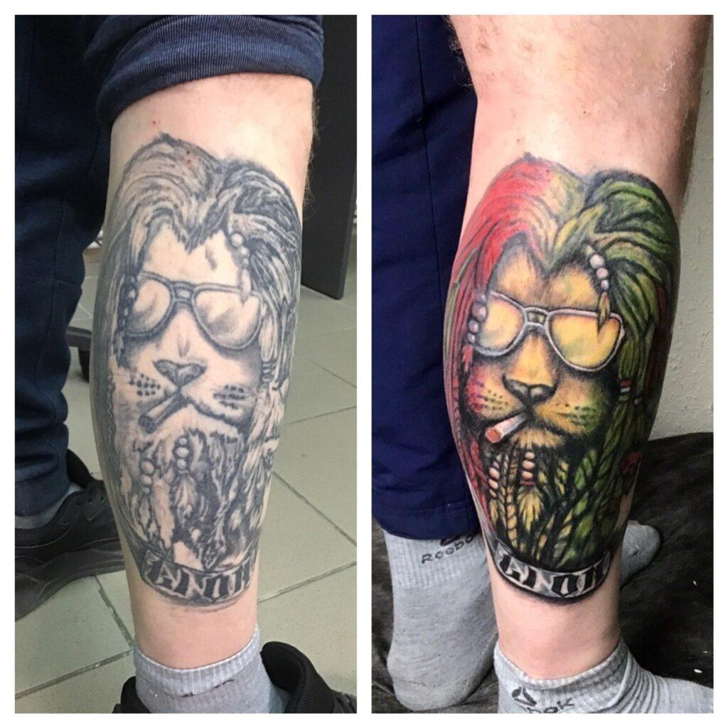 добавление цвета в тату на ноге мастер Дима - ТатуКлубБай г. Минск.